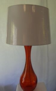 Teardrop Orange Glass Table Lamp 28 With Shade Spanish Recycled