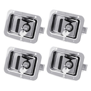 "4x Toolbox Lock Steel Door Paddle Handle Trailer Latch 4-5/8"" x 3-5/8"" w/ 8 Keys"
