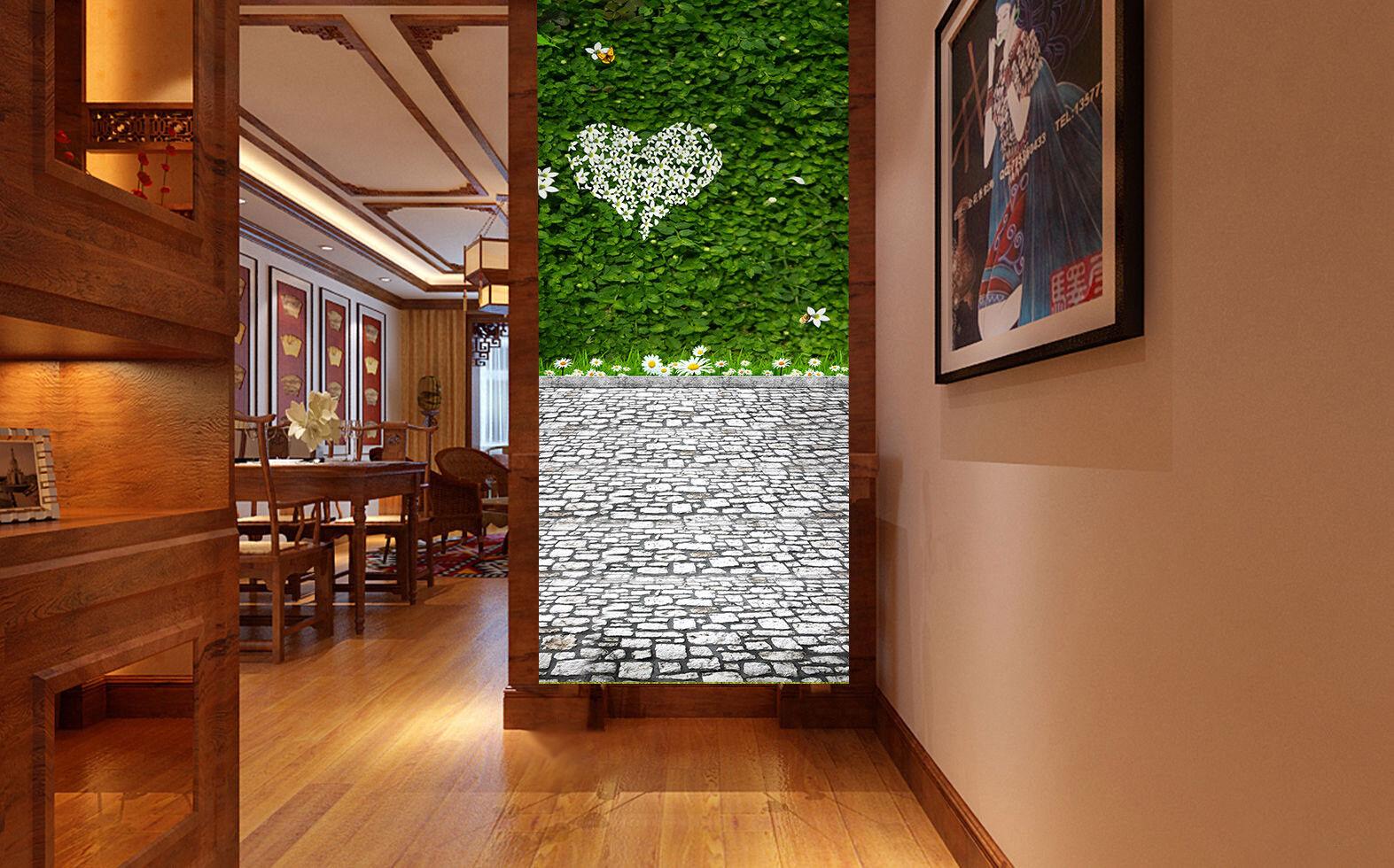 3D grau Stone Stone Stone Grün Vine 45 Wall Paper Wall Print Decal Wall Deco Indoor Mural 12785f