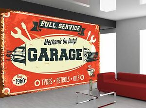 retro car service sign old garage photo wallpaper wall mural giantimage is loading retro car service sign old garage photo wallpaper
