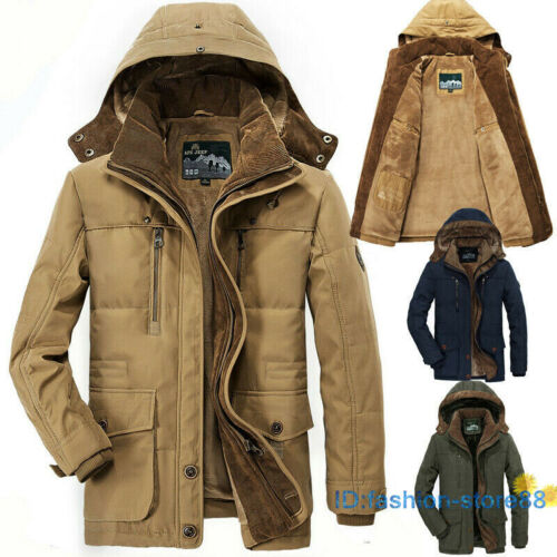 New Men Winter Jacket Military Parka Coat Thick Warm Hooded Jackets Size XS-6XL