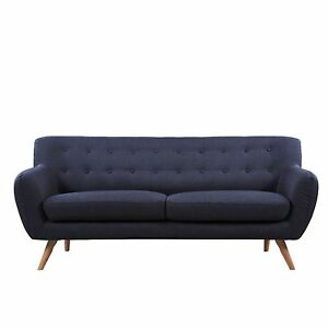 Image Is Loading Mid Century Modern SOFA Polo Blue Tufted Contemporary