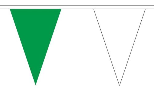Green and White Triangle Flag Bunting 27 flags on this 10 metre Long Bunting
