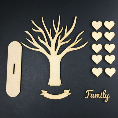 MDF Wooden Family Tree Set with Hearts Word Banner Craft Blank BRANCH STAND KIT