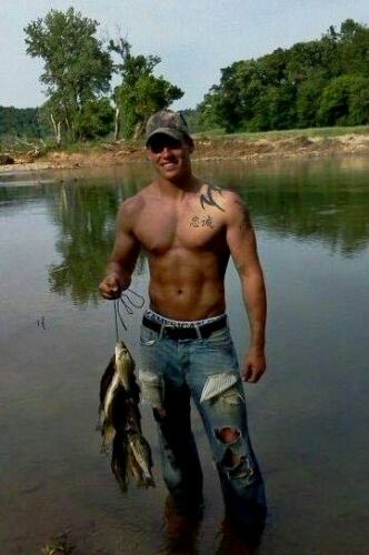 Shirtless Male Beefcake Hunk Muscular Country Dude Fisherman PHOTO 4X6 F778