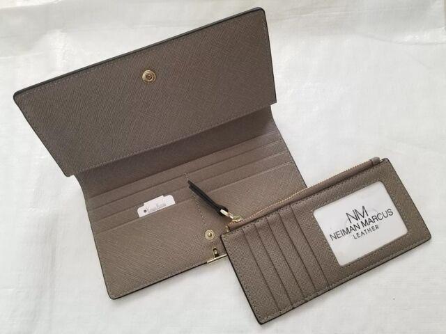 bc6dc0d31700 Neiman Marcus Women s ID Wallet Organizer Card Case Saffiano Leather Gold