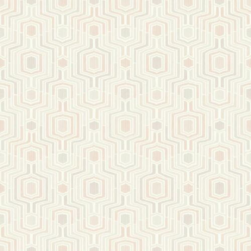 Rose 3D Géométrique Papier peint en relief gris taupe blanc métallisé Méso GRANDECO