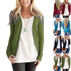 Women-V-Neck-Button-Down-Autumn-Long-Sleeve-Knitwear-Sweater-Shirt-Snap-Cardigan