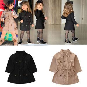 Toddler Baby Baby Girl Fashion Trench Jacket Kid Windbreaker Outwear Parka Coat