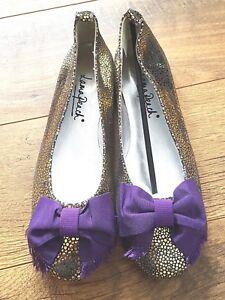 Gold Style Metallic Bow Unboxed 8 Lama Uk Flat Bnwot Ballet Peach scarpe Ygxwwqp