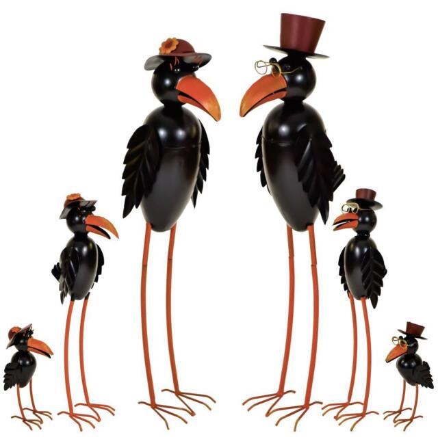 e2e Black Raven Crow Metal Garden Ornament Decoration