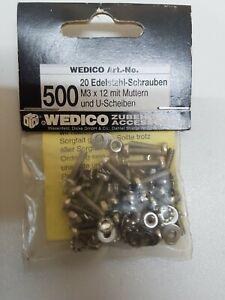 Wedico-500-20-Edelstahl-Schrauben-M-3x12-mit-Muttern-und-U-Scheiben