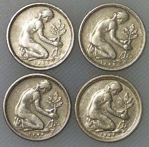 50 Pfennig 1949 D F G J Bank Deutscher Länder Kompletter Satz Ebay