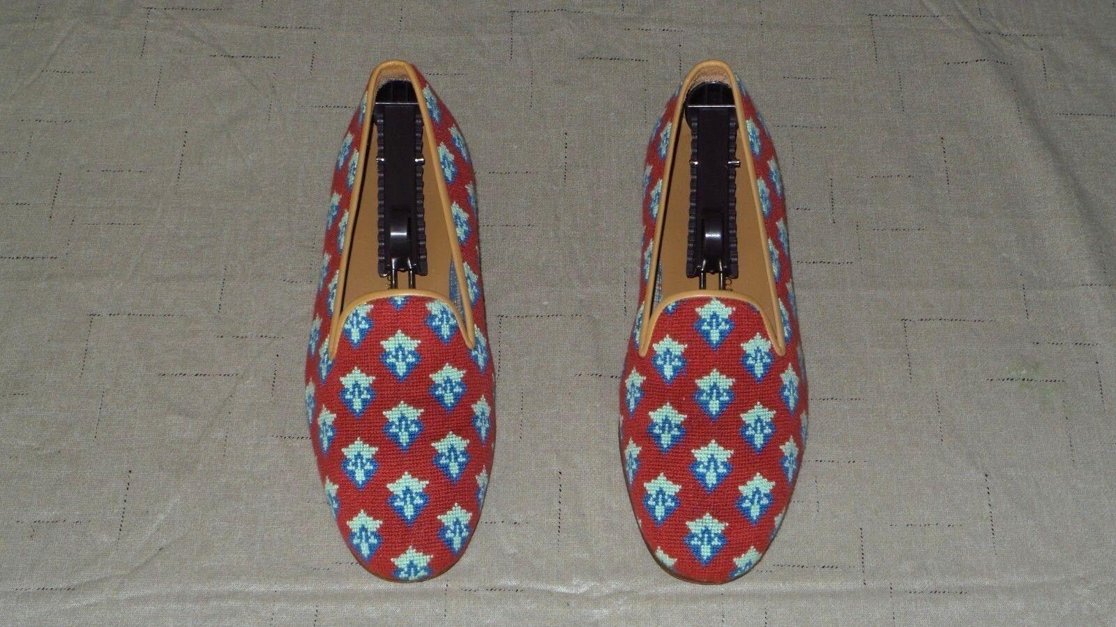 salutare RARE  Uomo  495 Stubbs Stubbs Stubbs & Wootton Needlepoint & Leather Slippers Loafers scarpe  con il 60% di sconto