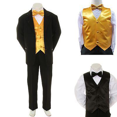 Baby Boy Formal Wedding Party Black Suit Tuxedo Yellow Vest Bow Tie Set S-4T