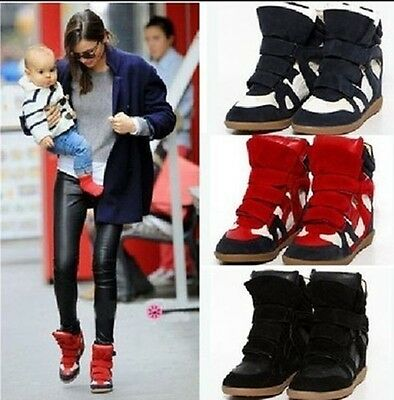 Women's  Strap High-TOP Sneakers Shoes/Ladys Ankle Wedge Boots Shoes