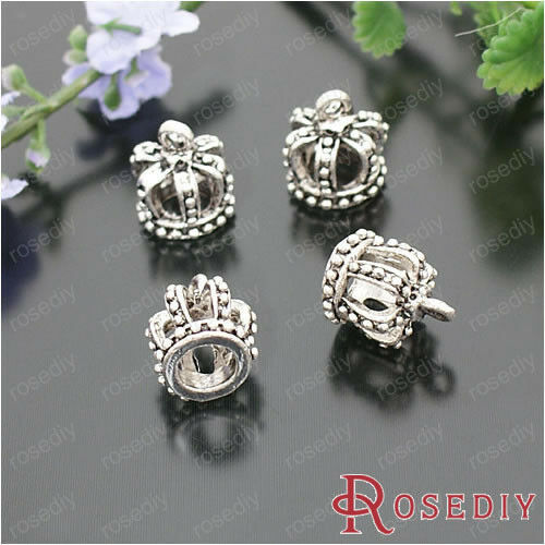 (21278)Fashion Jewelry Findings,Charms,Pendants,Alloy Antique Silver Crown 10PCS