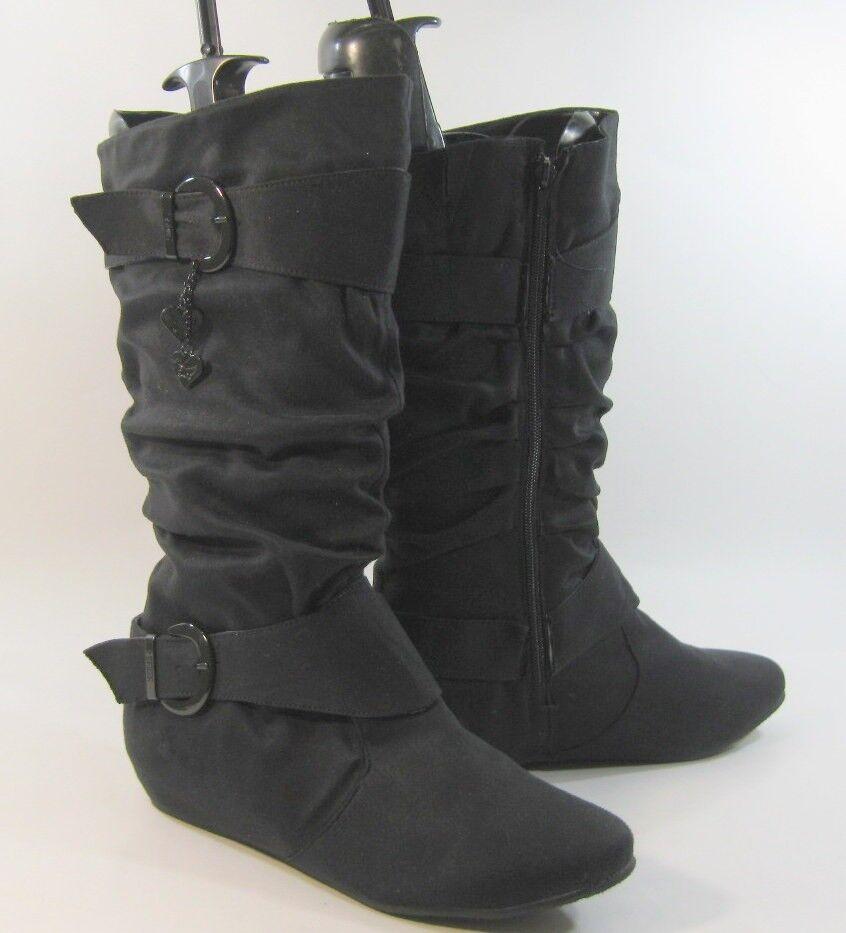 NEW Womens Black 1.5  Hidden Wedge Heel Round Toe Knee Boot Size 10