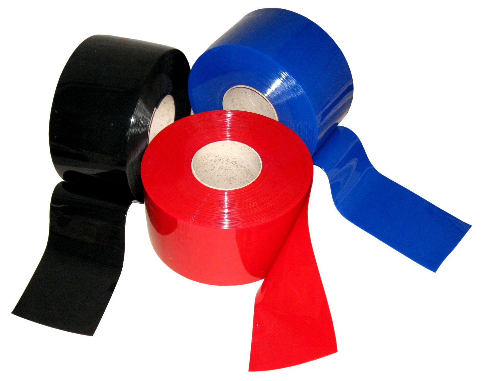 Strisce PVC LAMELLE sipario 200x2mmx50mtr ruolo in Rosso Blu e Nero