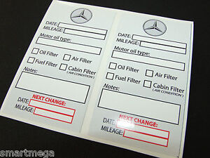Set Of 10 Oil Change Service Reminder Stickers For Mb Cars 10