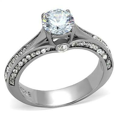 Solitaire Engagement Ring Vintage 6MM AAA Grade CZ 316 Stainless Steel