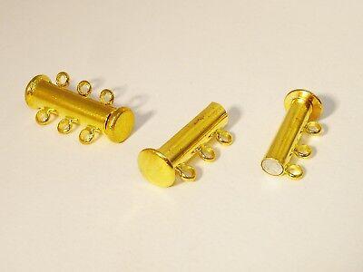Magnetverschlüsse Verschluss für 3 Reihige Kette, 20x10,Gold, 2 Stück #Z190/3