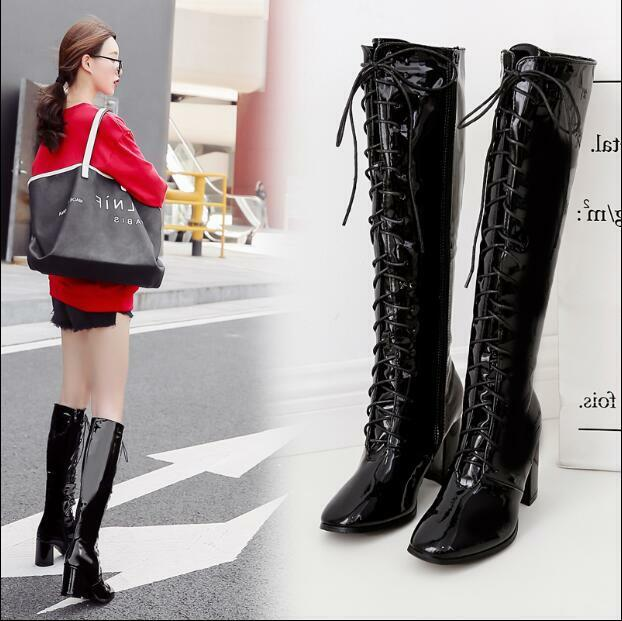 Womens Patent Leather Lace Up Knee High Boots Chunky Heels Square Toe shoes V853