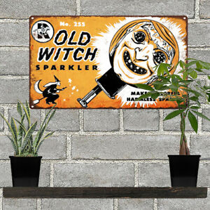 Old-Witch-Sparkler-Halloween-Man-Cave-Metal-Sign-7x12-034-60603