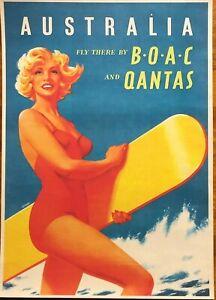Australian-Travel-Posters-Vintage-Retro-A3-Qantas-Bondi-Koala-Etc-20-Dif-Choices