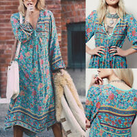 New Women Casual Boho Beach Floral Long Sleeve Loose Maxi Dress Tie V-neck Skirt