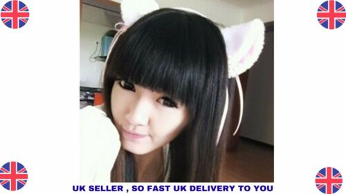 Charming Lovely High Quality White//Black Fox Cats Kitten Ears with bells