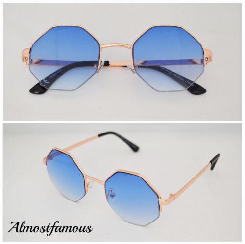 Womens Vintage Hexagon Rétro Designer Clear Lens Eye Glasses Sunglasses