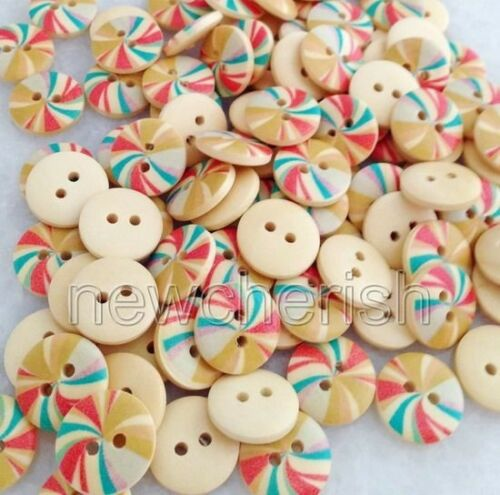 100 Pcs 2 Holes Colored Round Shape Wood Buttons For Sewing//Scrapbook nnk110
