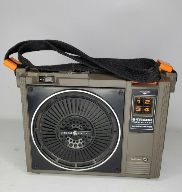 Vintage General Electric 8 Track Player Portable 3-5505F With Strap, Works!
