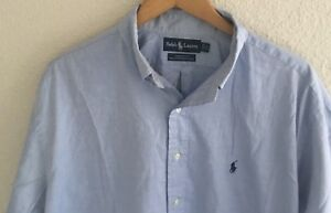 Ralph-Lauren-Men-039-s-Yarmouth-100-Cotton-Pinpoint-Shirt-Blue-Size-17-34-35