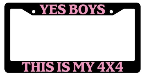 Black License Plate Frame Yes Boys This Is My 4x4 Pink Auto Accessory Novelty