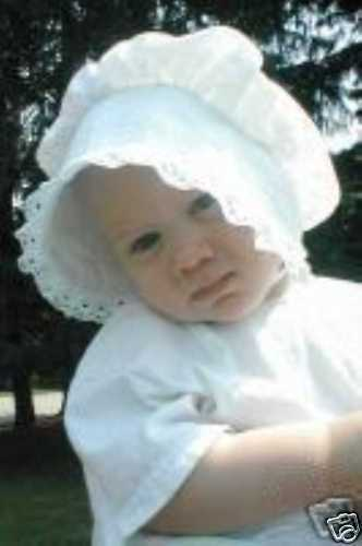 Classic Baby Bonnet SOLID WHITE  with lace trim hat sz nb,3,6,9,12,18 mo NEW