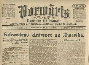 En Avant (10. Février 1917): La Suède Réponse à L'amérique-afficher Le Titre D'origine
