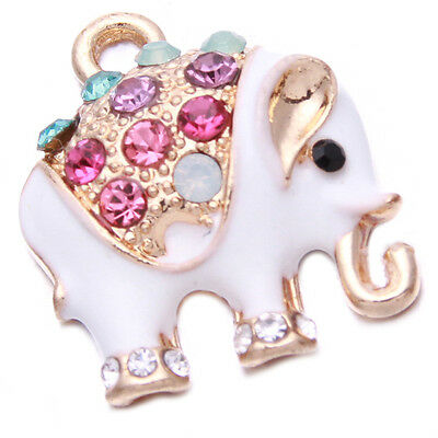 10pc Delicate Multicolor Rhinestone White Enamel Elephant Alloy Charms Pendant D