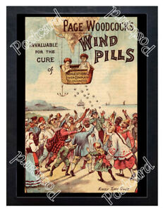 Historic-Page-Woodcock-039-s-Wind-Pills-c-1880-Advertising-Postcard