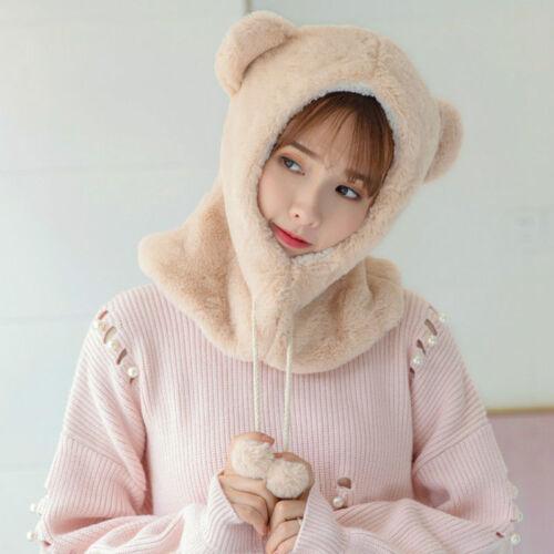 Lady Hat Cap Fleece Furry Fluffy Warm Winter Bear Ears Hoodie Animal Pom Pom New