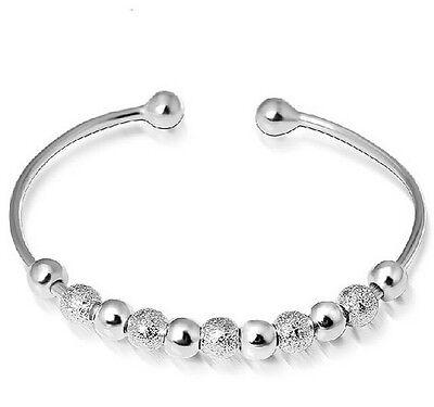 Charming Women jewelry Cuff Lucky Beaded Bracelet Bangle Silver lady Gift
