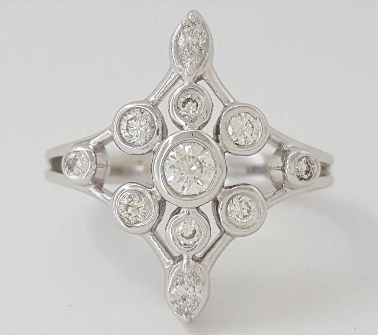 0.50 ct Vintage 14K White gold Round & Marquise Diamond Anniversary Fashion Ring