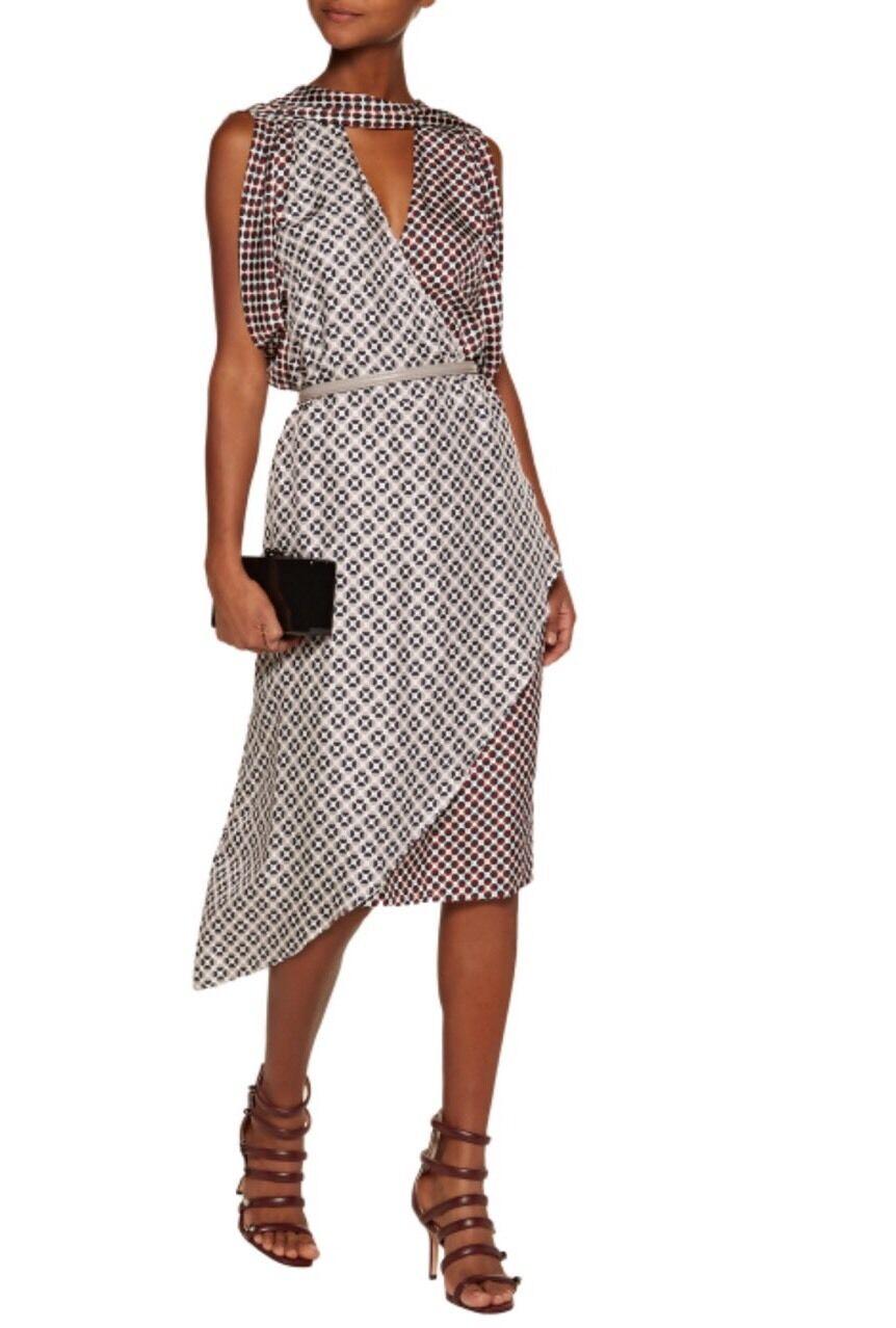 NEW Anthropologie Metropolis Polka-Dot Polka-Dot Polka-Dot Silk-Twill Dress Size 0 8066be
