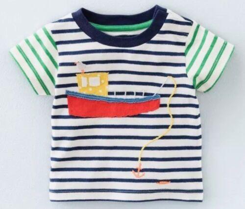 Neu Just in Baby Boden Jungen Applikation Top T-Shirt Kurzärmlig 0-3 Mths