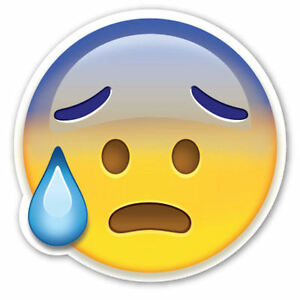 framed emoji print worried with sweat face picture poster