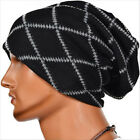 Mens Hats Winter Warm Skull Stripe Beanie Hip-hop Knit Cotton Baggy Slouchy Caps