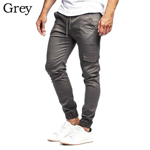 Men/'s Slim Fit Urban Casual Pencil Jogger Cargo Pants Straight Leg Trousers 3XL