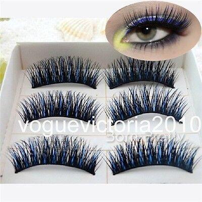 5 Paare Schwarz Blau Handmade Künstliche Falsche Wimpern False Eyelash Make Up