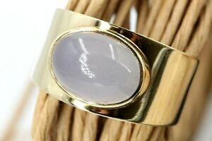 Mondstein Gold Ring 585 Gelbgold 14K Solitär Größe 66 Gewicht 11,31g verstellbar